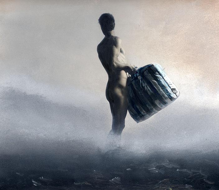 man in de mist 1van3  A 110x120cm